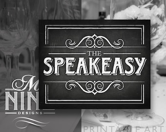 "Chalkboard Printable Art ""The SPEAKEASY"" Sign Download, Prohibition Party Print, Chalk Party Sign BWC31"