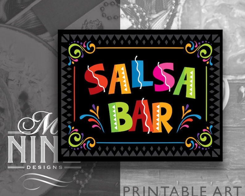 Fiesta Party Sign Printables | SALSA BAR Sign Downloads | Digital Download  | Cinco de Mayo Party Signs | Mexican Party Salsa Sign FCB22