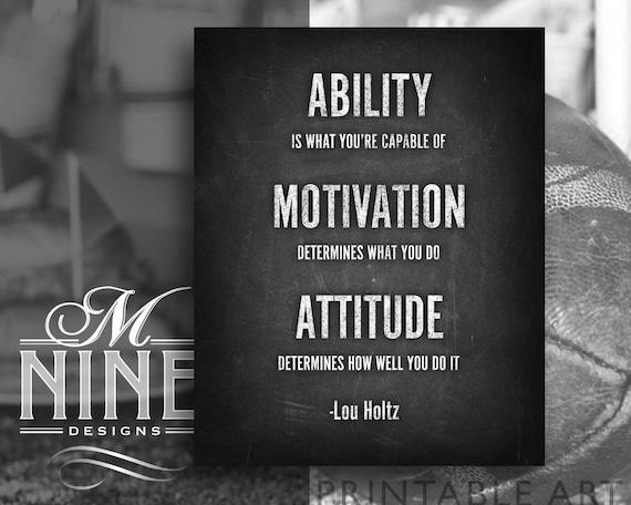 Chalkboard Sports Quote Printables   Ability Motivation Attitude Lou Holtz    Chalk Printable Art   Motivational Inspirational Quotes FBC16