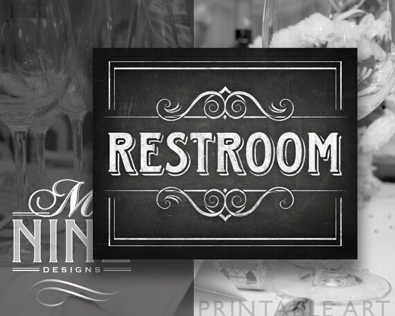 chalkboard printable signs restroom sign downloads etsy