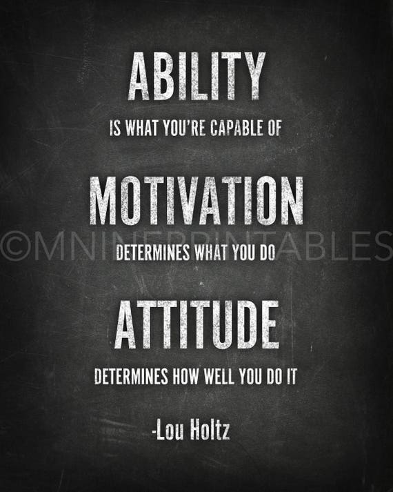 16 Football Poster Ability Motivation Attitude Quote Print Inspirational Picture