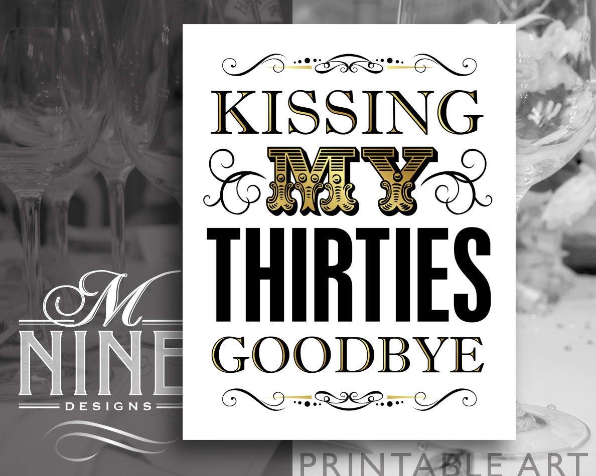 photo relating to 40th Birthday Signs Printable referred to as Gold 40th Birthday Signal Printables Kissing My Nineteen thirties Goodbye Electronic Down load Common Celebration Signs or symptoms Gold Printables BWG99