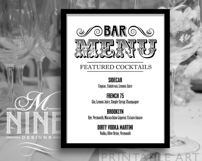 Custom BAR Menu Printable Sign Custom Wedding Sign Wedding D\u00e9cor BW26 Vintage Bar Print Party Signs Printable Bar Sign Download