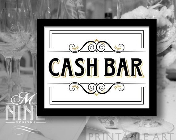 vintage party printable sign cash bar party etsy