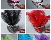 Handmade Venetian Masquerade Mask with Ostrich Feathers, Party, Prom, Halloween, Dress Up, Mardi Gras, seven colors Feather Mask - 30