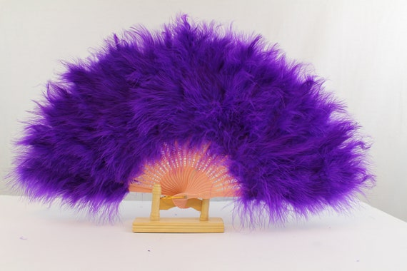 """Marabou Large Feather Fan 23/""""X12/"""" Wedding with 25 staves For Dancing Party"""