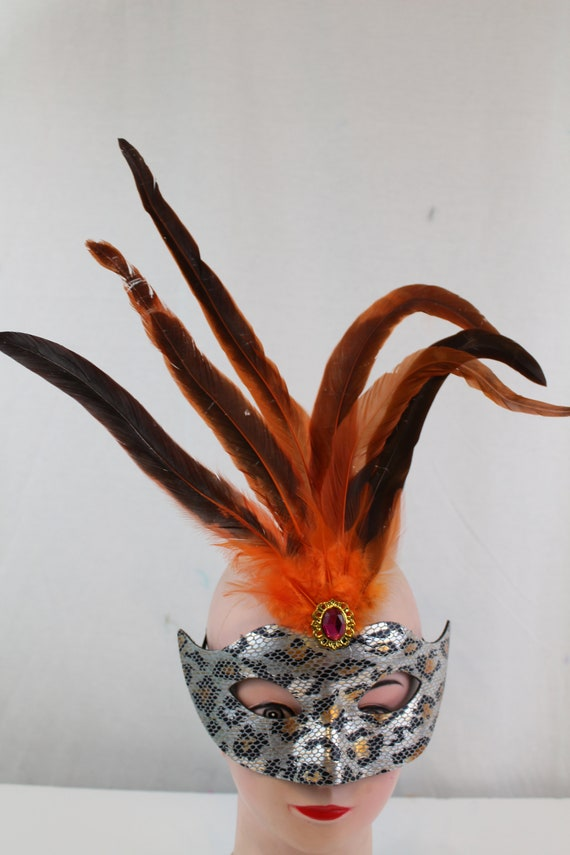 Prom Dress Up Yellow Handmade Venetian Masquerade Mask with  cock feather Halloween seven colors FKM-022 Mardi Gras Party