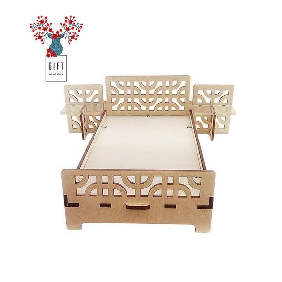 Unassembled dollhouse set furniture, bedroom kits, DIY dollhouse furniture,  rustic bedroom furniture for Barbie, miniature bed for dolls