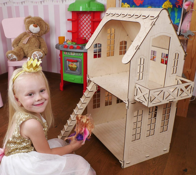 Marvelous Wood 2 Story Barbie Doll House Dollhouse Kit Diy Kit Miniature Dollhouse Toyhouse No Furniture Montessory Toys Natural Waldorf Toy 3D Puzzle Download Free Architecture Designs Rallybritishbridgeorg