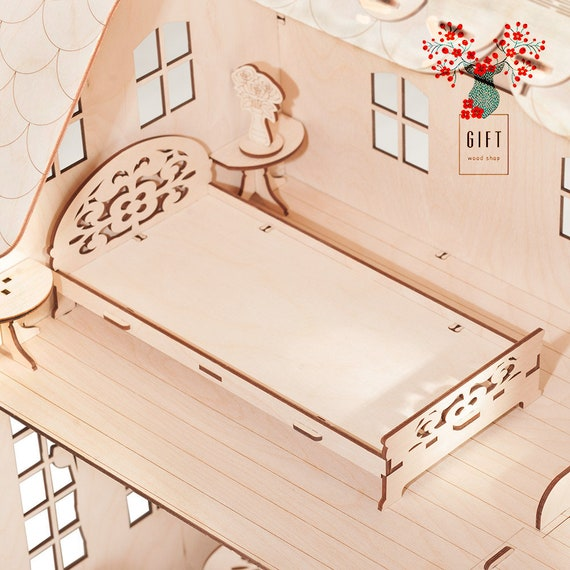 Modern Barbie Size Bed 2 Tables And Flowers Etsy