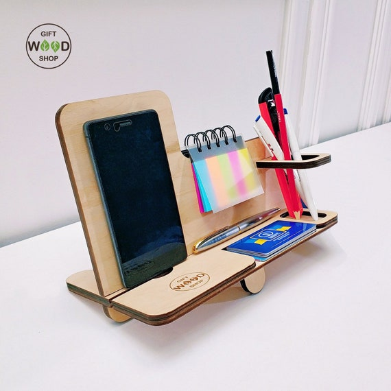 Desktop Organizer Phone Charging Station Supplies and Business Cards Holder