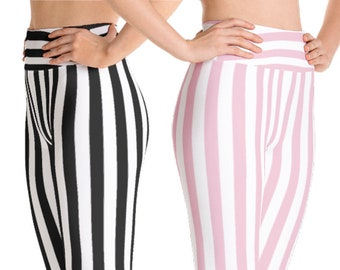 Black & White Striped Yoga Leggings | Wild Leggings | Pilates Leggings | Nautical Leggings | Pink Leggings | Yogagear | Loopy Jayne