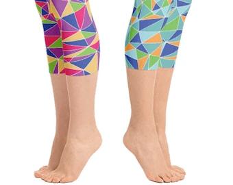 Colorful Pink Triangle Workout Capri Leggings | Wild Leggings | Festival Leggings | Dance Leggings | Womens Leggings | Loopy Jayne