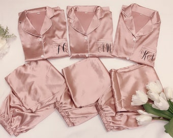 26f1b31c67 BRIDESMAID GIFTS Personalized Pajamas Silk Bridesmaids Pajama Set