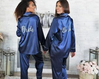 ece67d99112d UNISEX KIDS ADULT Christmas Gift Personalized Pajamas Silk Bridesmaids  Pajama Set