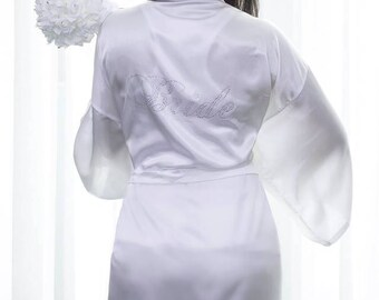 Rhinestone Crystal Clear Wedding Bride Robe Variety Of Colors Size S-xxl  Mother Of The Bride 31a463d61