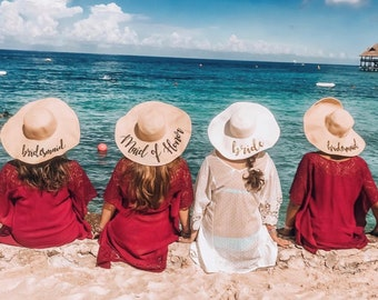 6012d924 Bridesmaid beach hat, bride Floppy Beach Hat, Floppy Sun Hat, Bride Hat,  Custom Personalized Floppy Hat, Bride custom gifts