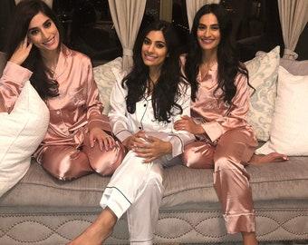 89ad0ba5f3a3 BRIDESMAID GIFT Kids Adult Personalized Pajamas Silk Bridesmaids Pajama Set