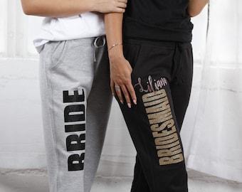5aa71ed39cb7e PERSONALIZED BUNDLE Bridal Party Sweatpants- Shirt- Slippers Personalized  Sweats
