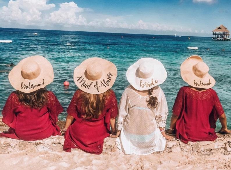 10d3c7f3429566 BIG SALE Bridesmaid beach hat bride Floppy Beach Hat   Etsy