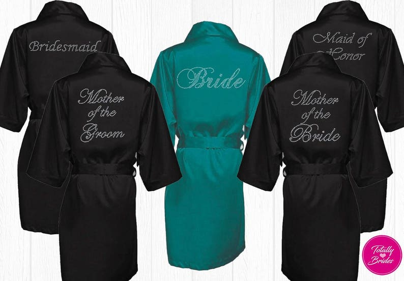 Rhinestone Bridal Robe - Bridal Party Robes - Bridesmaids - Bride Robe  Variety Of Colors Size S-XXL (Writing On The Back ... 0fddb1528