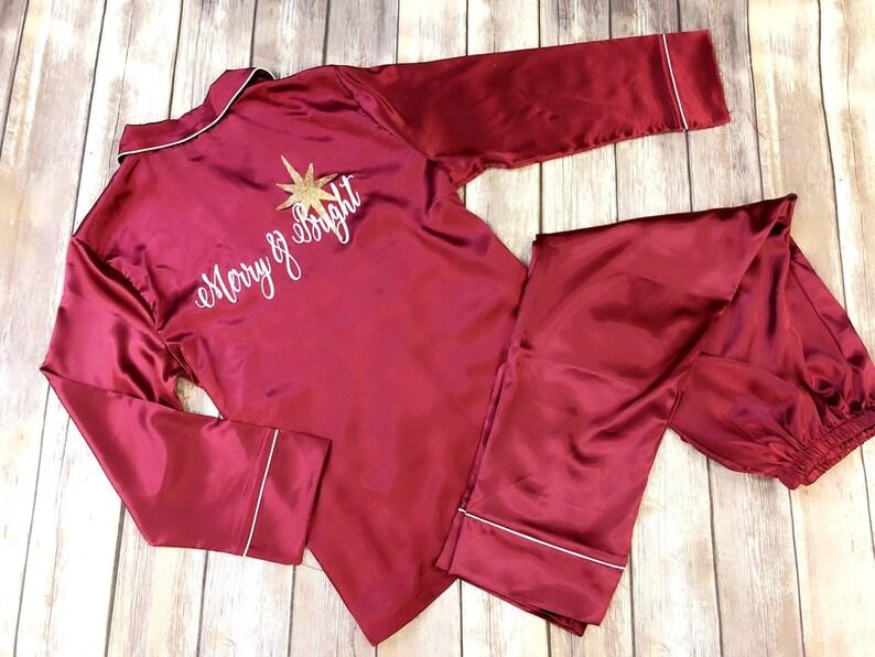 1fdcf3a269 Christmas Pajamas Silk Pajama Set Merry   bright pajama