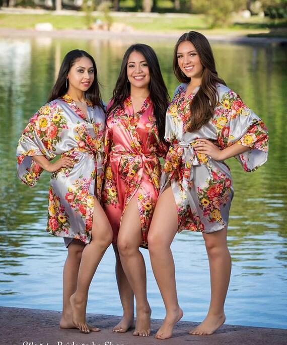 Big Sale Adult Kids Floral Satin Bridal Robes Silk Floral