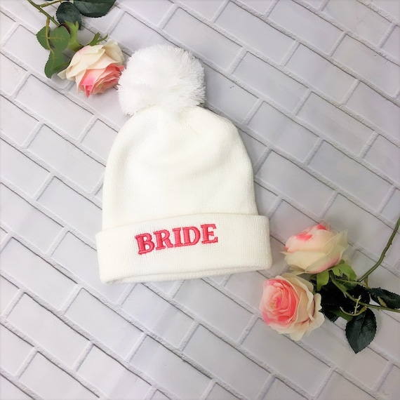 ef9cd6734611a BRIDE embroidered BEANIE Hat Wifey Pom Hat Beanie Bride