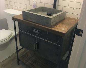 Bathroom Vanity Cabinet with Metal Doors & Pipe / Industrial restroom / Pipe Vanity / Rustic Furniture / Industrial Furntiture