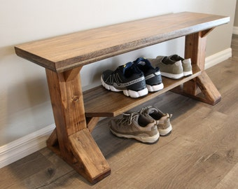 Bench Shoe Rack / Farmhouse Entry / storage bench / shoe bench / farm style bench / Handmade / Made to order / entryway. Rustic Bench