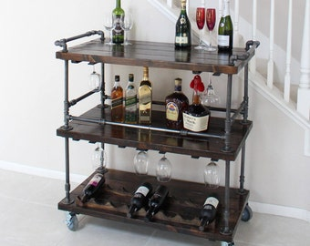 unique bar carts art deco cocktail rustic bar cart industrial pipe wood bar unique bars whiskey wine cart kitchen island urban drink rustic furniture etsy