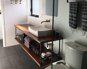 Floating Bathroom Vanity with Pipe / Industrial restroom / Pipe Vanity / Rustic Furniture / Industrial Furniture / Small / Custom / Modern
