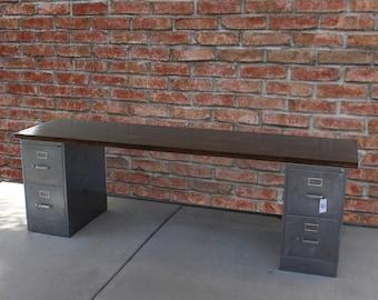 4 Drawer Rustic Desk / Metal Filing Cabinet / Industrial Desk / Metal File  Cabinet Desk / Pipe Desk / Rustic Office Furniture / Unique Desk