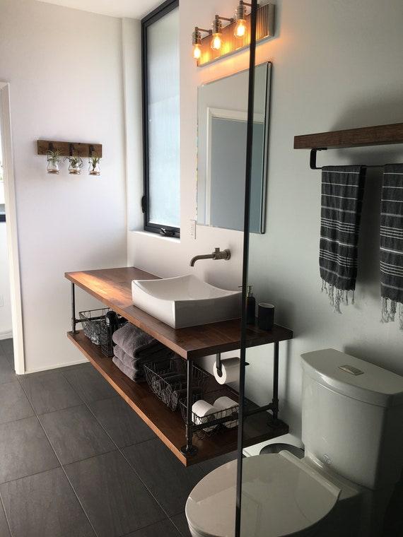 Bathroom Vanity With Pipe Floating Industrial Restroom Etsy