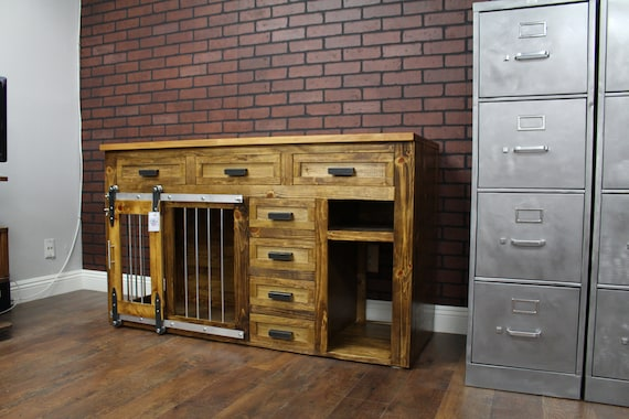Rustic Dog Crate Furniture Credenza Media Center Sliding