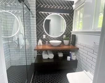 Floating Bathroom Vanity / Industrial restroom / Rustic Furniture / Industrial Furniture / ADA Accessible / Custom / Open concept / Shelf