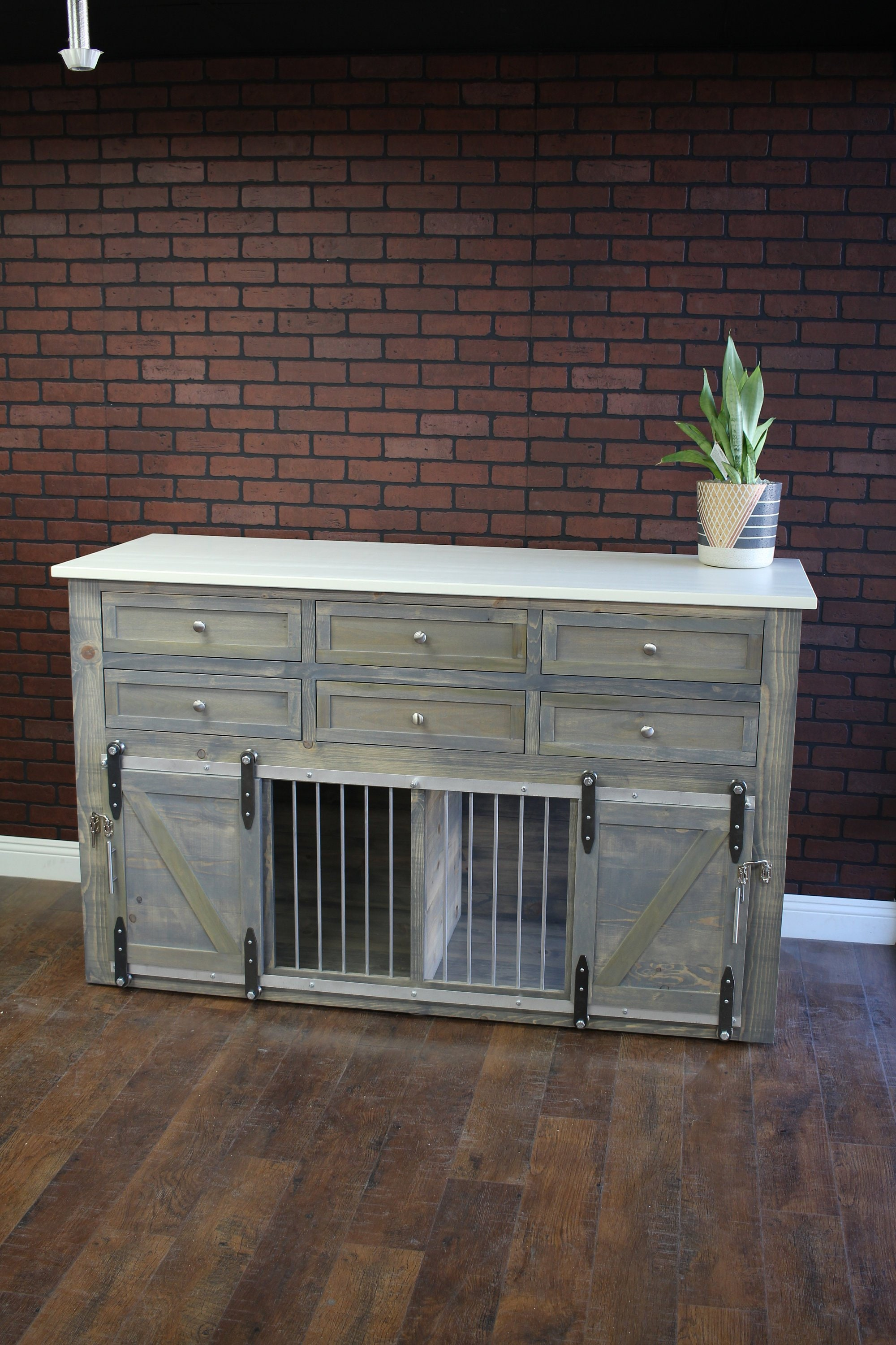 Rustic Dog Crate With 6 Drawers Etsy