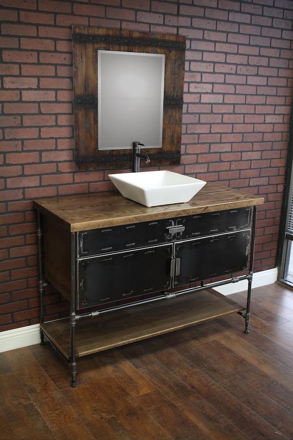 Bathroom Vanity Cabinet With Metal Doors Pipe Industrial Etsy