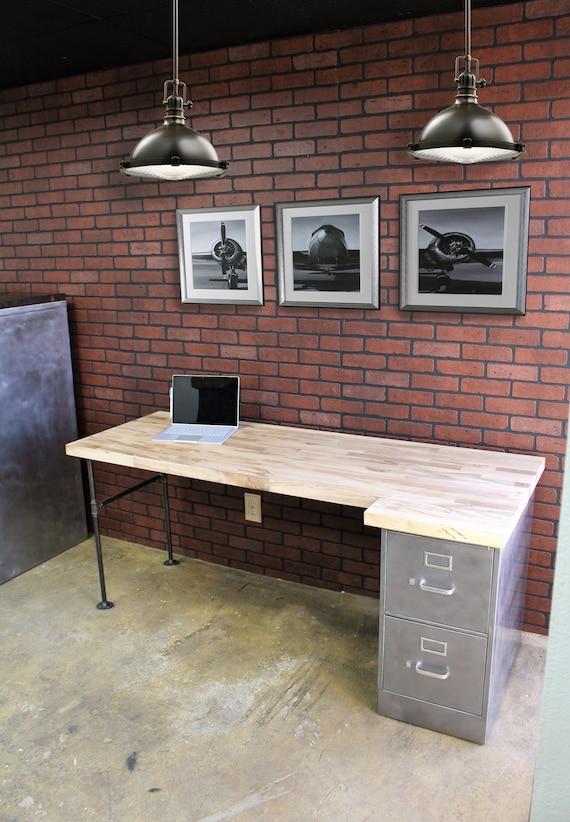 2 Drawer Rustic Pipe Desk Metal Filing Cabinet