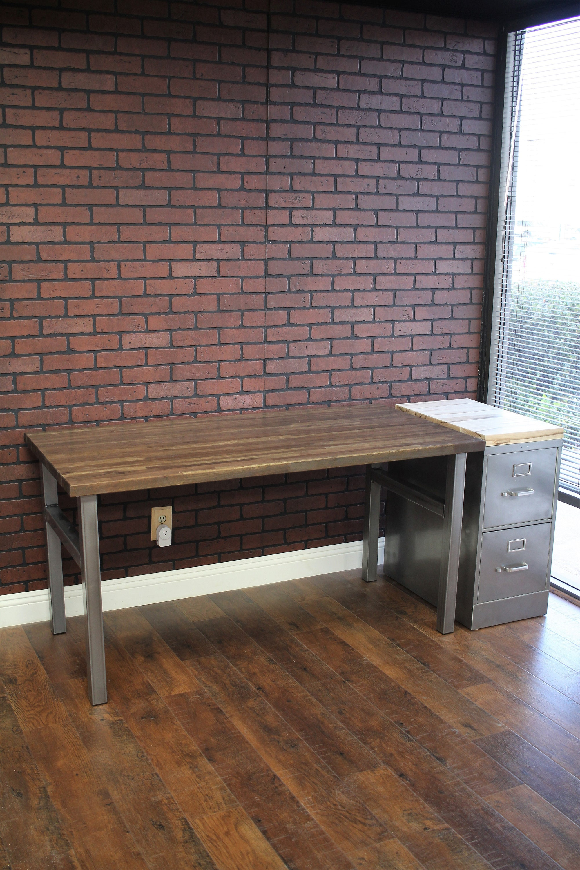 Bon Modern Desk / Steel And Wood / Industrial / Urban Furniture / Rustic Office  Furniture / Butcher Block Desk / Rustic Desk