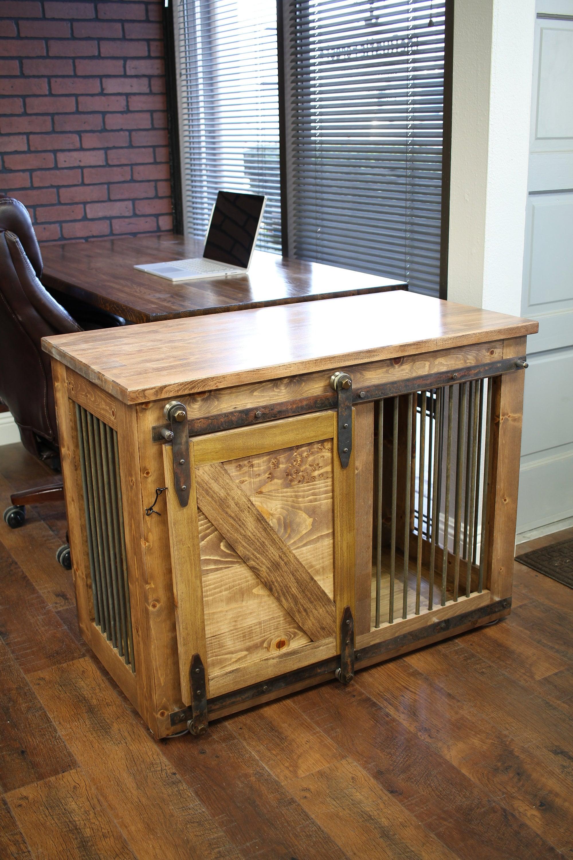 Rustic Dog Crate Sliding barn door / Fully Custom / Dog | Etsy