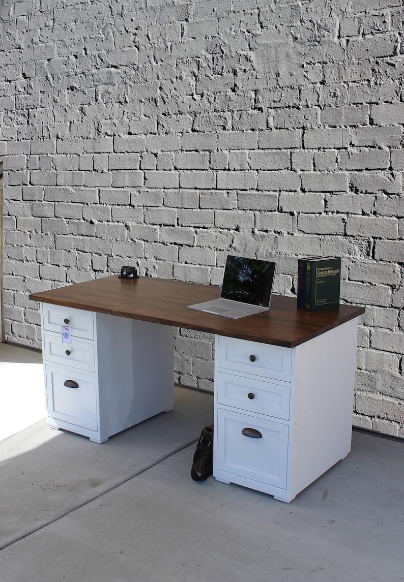 Drawer Desk Rustic Desk Chic Painted Drawers Office Desk Etsy