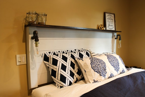 Rustic Headboard - Handmade Industrial Pipe & Solid Wood bed w/ lights /  Bedroom / pipe light / edison bulb / vintage. Made to order