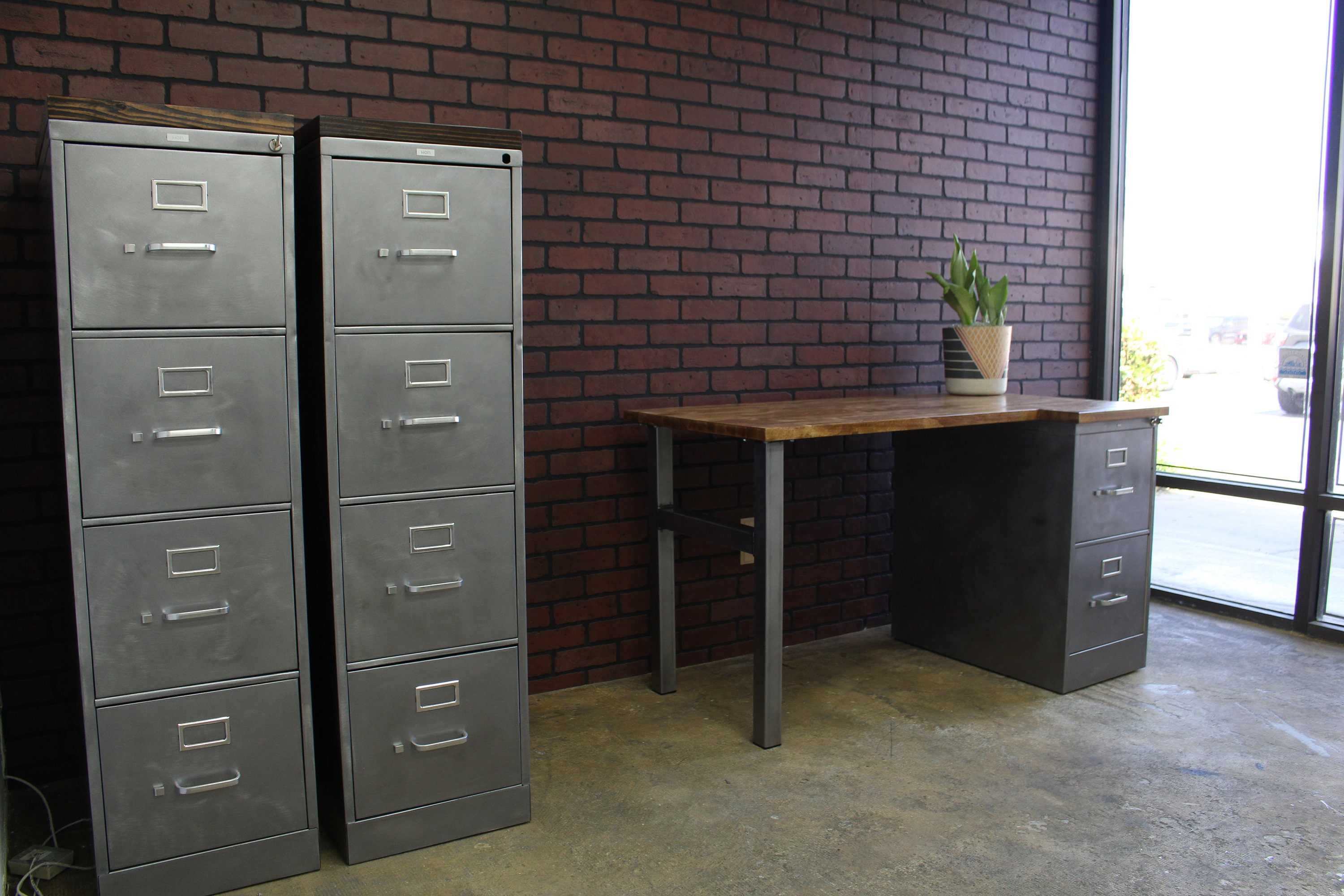 Refinished 4 Drawer Metal Filing Cabinet W/ Or W/o Solid Wood Top /  Industrial Cabinet / Metal Filing Cabinet / Rustic Office / Hon