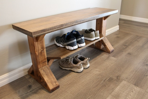Astonishing Farmhouse Entry Bench Shoe Rack Storage Bench Shoe Bench Farm Style Bench Handmade Made To Order Entryway Rustic Bench Gmtry Best Dining Table And Chair Ideas Images Gmtryco
