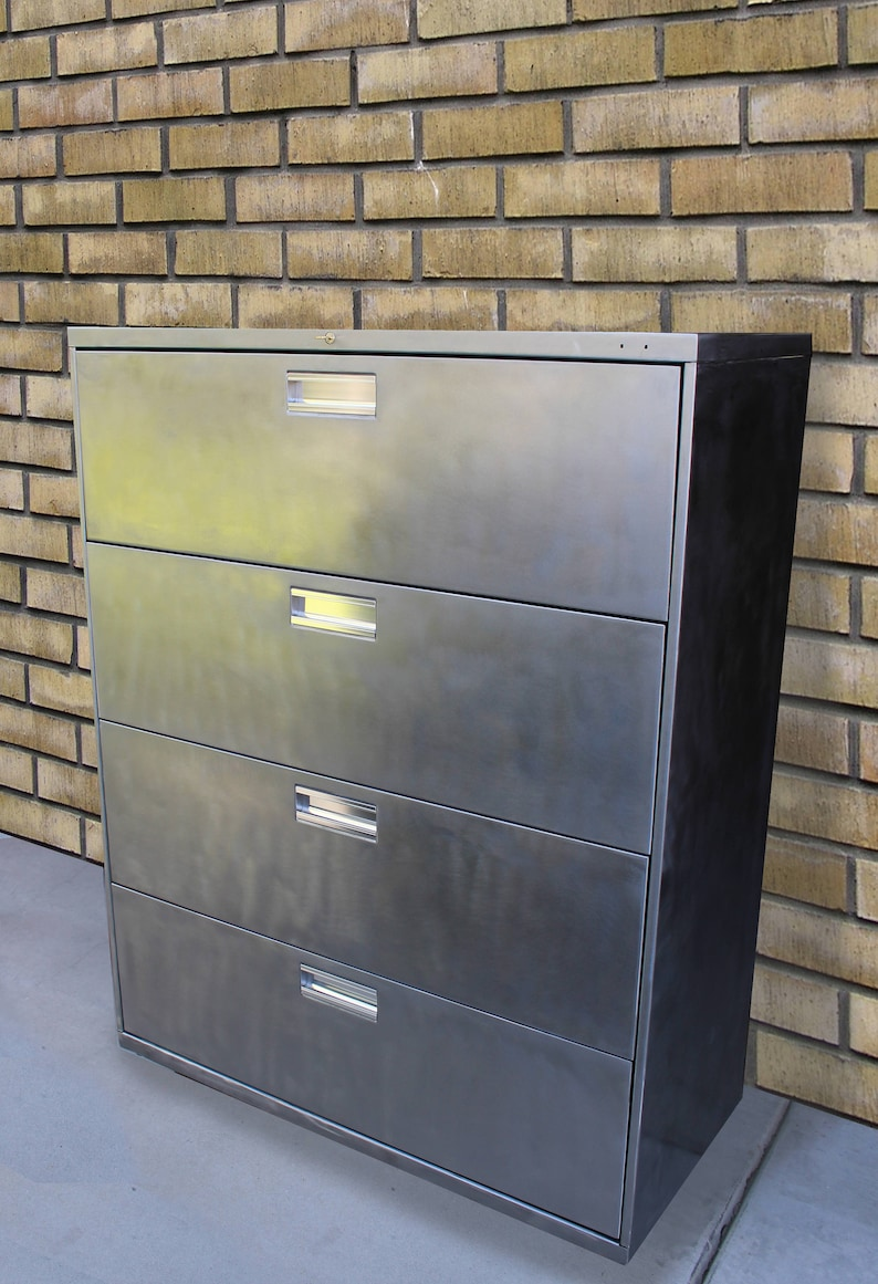 Industrial Bare Metal Refinished 4 Drawer Filing Cabinet / Dresser / Tool  Storage / Office Storage / Cabinet Rustic / Industrial