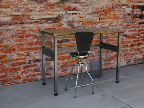 Awe Inspiring Workbench Desk Industrial Tall Standing Workstation Shop Desk Rustic Caraccident5 Cool Chair Designs And Ideas Caraccident5Info
