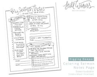 Sermon notes etsy digging deeper kids sermon notes printable maxwellsz
