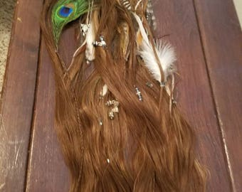 Chocolate with Caramel Feather and Jewel Hair Extension Set
