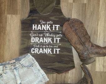 e007fa9642463a I ve got a Hankerin  for gettin  into somethin   Country Tank Top  Miranda  Lambert tank  20.39  23.99 · You gotta Hank it  Whiskey tank   Justin Moore  Tank  ...